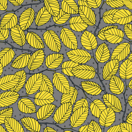 Seamless pattern with elm tree branches and leaves for surface design and other design projects. Trendy Illuminating Yellow and Ultimate Gray colors, gray background