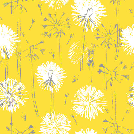 Seamless pattern with hand drawn dandelion flowers for surface design and other design projects. Trendy Illuminating Yellow and Ultimate Gray colors, yellow background Ilustração