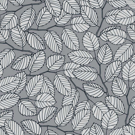 Seamless pattern with elm tree branches and leaves on white background for surface design and other design projects. Monochrome realistic line art