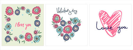 Set of Happy Valentines Day greeting cards designs with hand drawn hearts, hippyish flowers, lettering