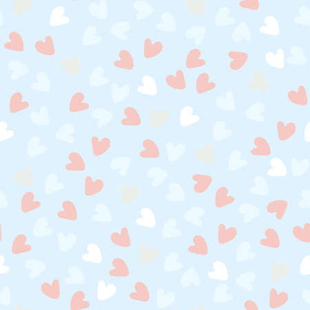 Seamless pattern. Hand drawn red, pink, white heart shapes on pastel blue background.