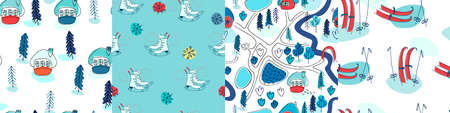 Set of seamless patterns with winter cottages, fir trees, skates and skis in the snow. Winter recreation concept