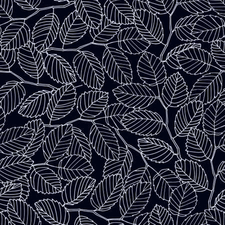 Seamless pattern with elm tree branches and leaves on black background for surface design and other design projects. Monochrome realistic line art