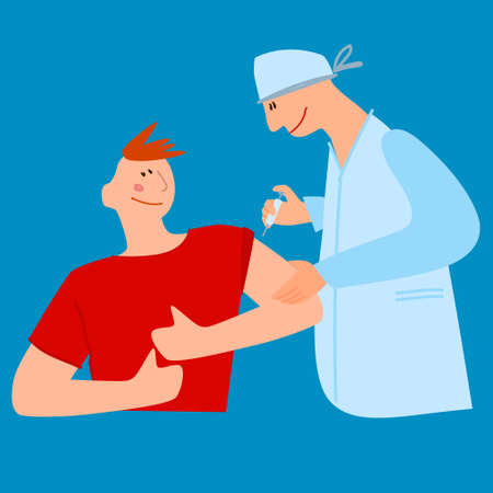 Vaccination time concept. Stop virus concept. Doctor inoculates male patient, making vaccine injection in shoulder. Vector illustration.