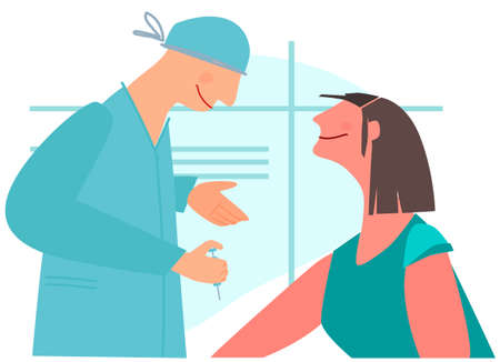 Vaccination time concept. Stop virus concept. Doctor prepare to inoculate female patient, making vaccine injection in shoulder. Vector illustration. Banner, poster,social media post