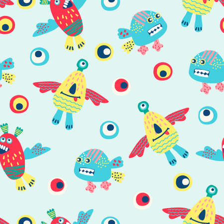Seamless pattern with hand drawn funny monsters. Cheerful wallpaper for children, background for kids stationery Ilustração