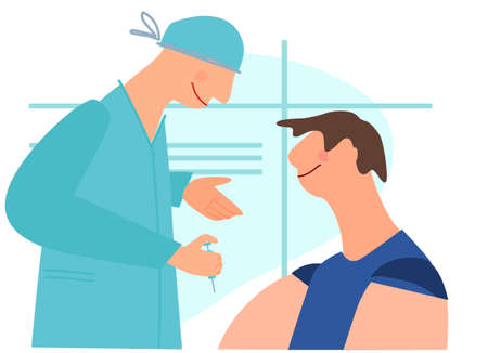 Vaccination time concept. Stop virus concept. Doctor prepare to inoculate male patient, making vaccine injection in shoulder. Vector illustration. Banner, poster, social media post