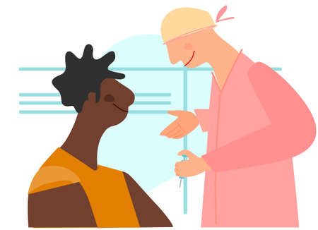 Vaccination time concept. Stop virus concept. Doctor prepare to inoculate black female patient, making vaccine injection in shoulder. Vector illustration. Banner, poster,social media post