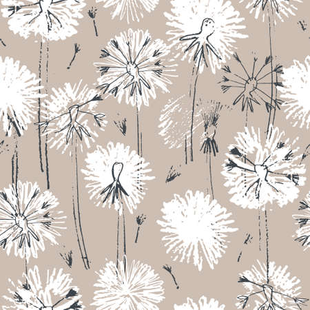 Seamless pattern with hand drawn dandelion flowers for surface design and other design projects. Monochrome line art, beige background