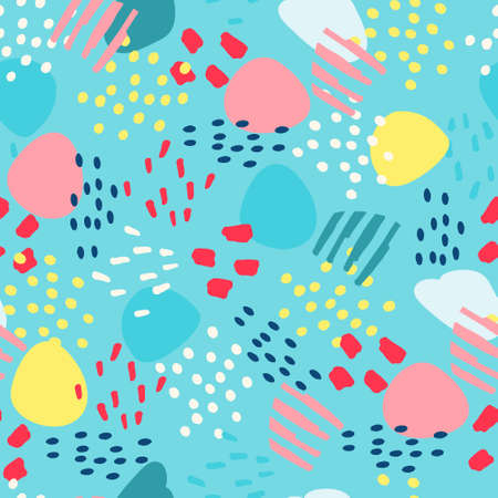 Seamless pattern with hand drawn abstract elements for surface design and other design projects on blue background Ilustração