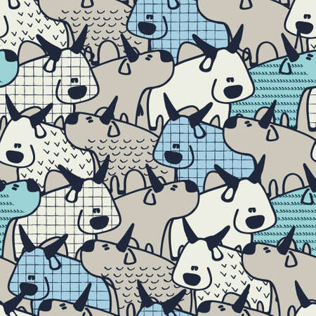 Seamless pattern with Oxen, zodiac animal for 2021. Bulls in cartoon style. Perfect design for kids.