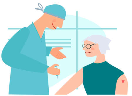 Vaccination time concept. Stop virus concept. Doctor prepare to inoculate senior female patient, making vaccine injection in shoulder. Vector illustration. Banner, poster, social media post Ilustração
