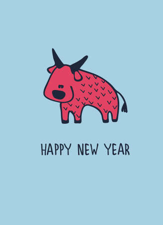 Happy New Year greeting card with ox, zodiac animal for 2021. Funny horoscope bull and hand-lettered greeting phrase