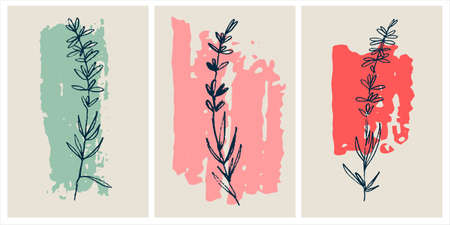 Decor printable art. Set of hand drawn lavender vector illustrations on abstract backgrounds for home interior design.