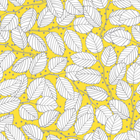 Seamless pattern with elm tree branches and leaves for surface design and other design projects. Trendy Illuminating Yellow and Ultimate Gray colors, yellow background