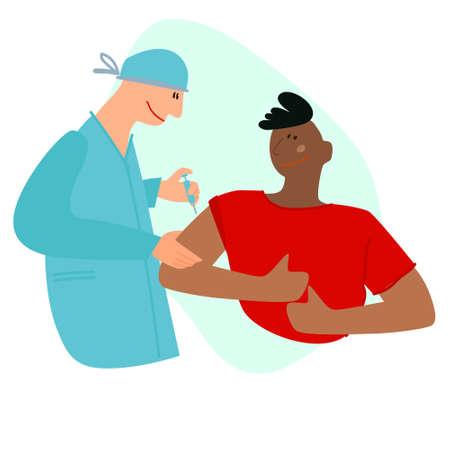 Vaccination time concept. Stop virus concept. Doctor inoculates black male patient, making vaccine injection in shoulder. Vector illustration. Banner, poster, social media post Ilustração