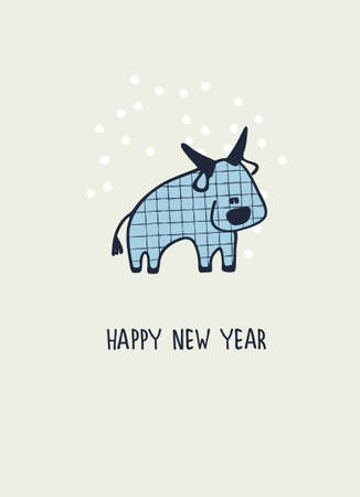 Happy New Year greeting card with ox, zodiac animal for 2021. Funny Chinese horoscope bull and hand-lettered greeting phrase