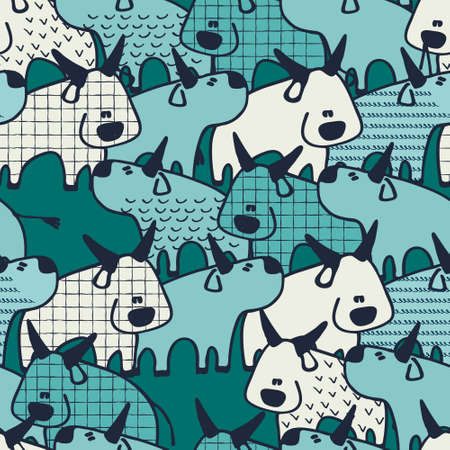 Seamless pattern with Oxen, Chinese zodiac animal for 2021. Bulls in cartoon style. Perfect design for kids.