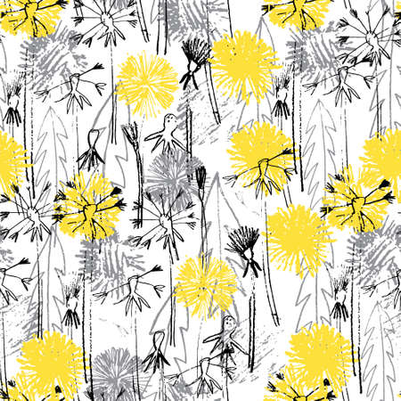 Seamless pattern with hand drawn dandelion flowers for surface design and other design projects. Trendy Illuminating Yellow and Ultimate Gray colors Ilustração
