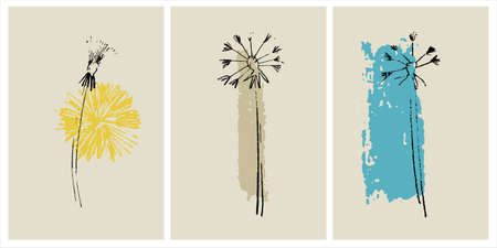 Decor printable art. Set of hand drawn dandelion vector illustrations on abstract backgrounds for home interior design. Contemporary art for prints, posters, cards, textile