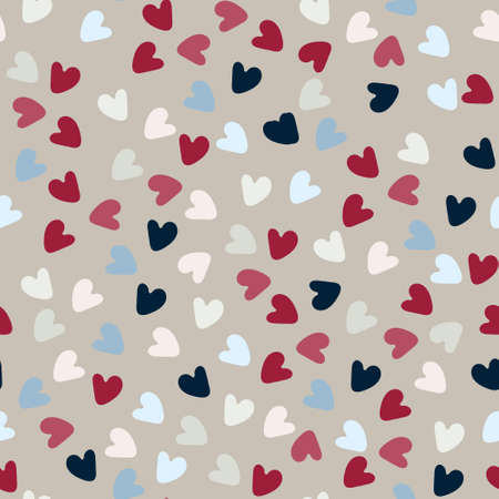 Seamless pattern. Hand drawn multicolored heart shapes on beige background, for wrapping paper and other design projects. Valentines Day concept, love, romance concept