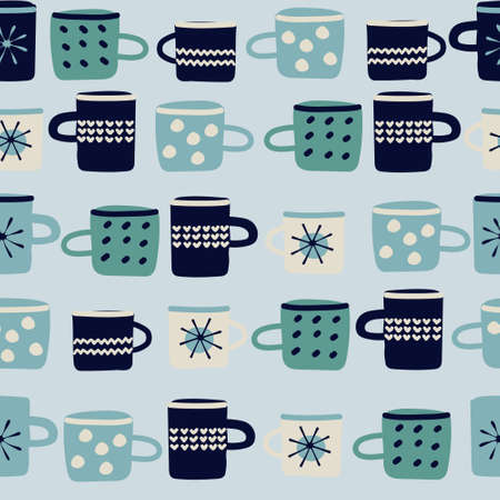 Seamless pattern. Hand drawn cups decorated with patterns in Scandinavian, hygge style on blue background. Hot drinks, Christmas, winter holidays concept. For wrapping paper, other design projects Ilustração
