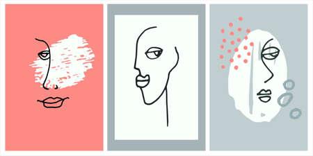 Decor printable art. Set of surreal female portraits, triptych for home interior design. Contemporary face line art for prints, posters, textile Ilustração