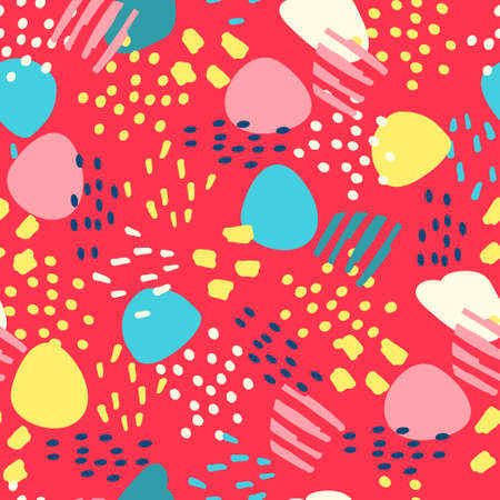 Seamless pattern with hand drawn abstract elements for surface design and other design projects on red background Ilustração