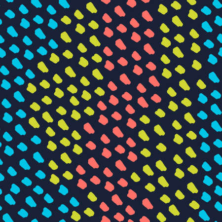Seamless repeating pattern with colorful felt pen spots forming wavy color stripes. Festive vector background for surface design and other design projects