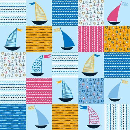 Seamless pattern, patchwork with hand drawn sailing boats, anchors, life belts, waves for surface design and other design projects. Sailing and fishing concept Ilustração