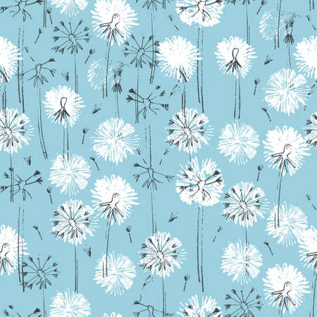 Seamless pattern with hand drawn dandelion flowers for surface design and other design projects. Line art, blue background