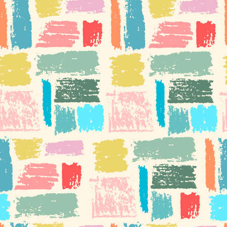 Seamless repeating pattern with multicolored paint stripes on light-colored background. Brushstroke effect. Abstract vector wallpaper for surface design and other design projects