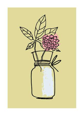 Decor printable art. Hand drawn monochrome vector illustration of elderflower in vase on beige background. Design for prints, posters, cards, textile Ilustração