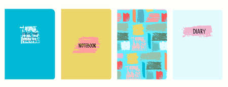 Set of cover page vector templates with multicolored paint stripes, brushstroke effect. Based on seamless patterns. Headers isolated and replaceable. Perfect for school notebooks, diaries