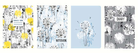Set of cover page templates with dandelions. Based on seamless patterns. Headers isolated and replaceable. Perfect for school notebooks, diaries Imagens