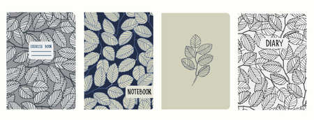 Set of cover page templates with elm tree branches and leaves. Based on seamless patterns. Headers isolated and replaceable. Perfect for school notebooks, diaries