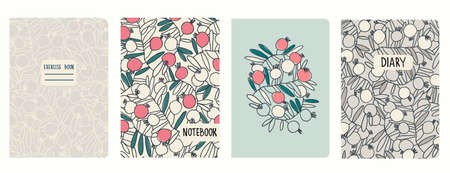 Set of cover page templates with pomegranates branches and fruit. Based on seamless patterns. Headers isolated and replaceable. Perfect for school notebooks, diaries