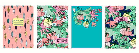 Set of cover page templates with lush tropical vegetation, Hawaiian style. Based on seamless patterns. Headers isolated and replaceable. Perfect for school notebooks, diaries Ilustração