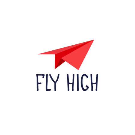 Fly high. Motivational banner, recruitment ad. Heading for human resources documents, personal development trainings. Hand drawn paper plane, lettering Ilustração