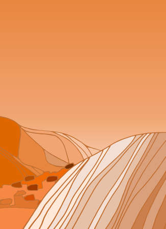 Mars landscape background with alien mountines and stony desert. Cosmic design, vector template for social media stories, flyers, typography