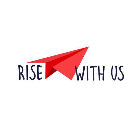 Rise with us. Banner for a recruitment ad. Heading for human resources documents. Hiring, teamwork and personal growth concept. Hand drawn paper planes, lettering