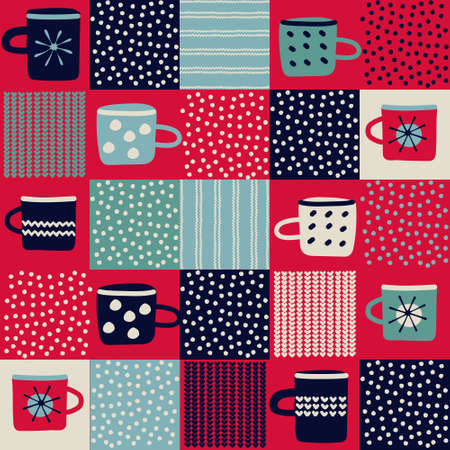 Seamless pattern, patchwork with hand drawn cups, polka dot, waves in rustic Scandinavian hygge style for surface design and other design projects