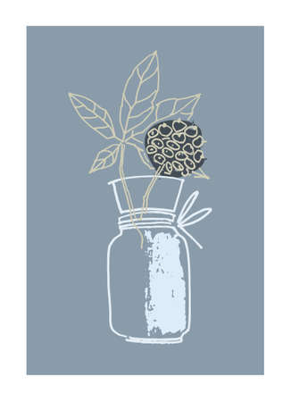 Decor printable art. Hand drawn monochrome vector illustration of elderflower in vase on gray background. Design for prints, posters, cards, textile