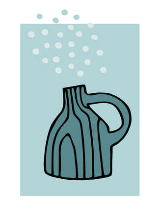 Decor printable art. Hand drawn ceramic vase against blue backdrop with bubbles. Vector illustration. Design for prints, posters, cards, textile
