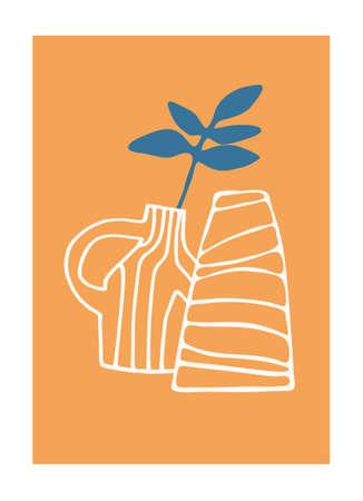 Decor printable art. Hand drawn ceramic vase with plant against beige backdrop. Vector illustration. Design for prints, posters, cards, textile Ilustração