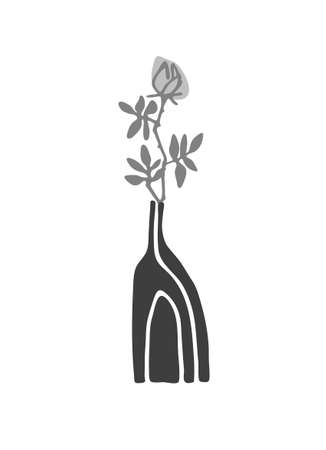 Decor printable art. Hand drawn ceramic vase with rose flower on white background. Vector illustration. Design for prints, posters, cards, textile