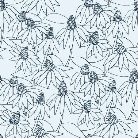 Seamless monochrome pattern with hand drawn Echinacea flowers for surface design and other design projects Ilustração