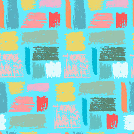 Seamless repeating pattern with multicolored paint stripes on turquoise background. Brushstroke effect. Abstract vector wallpaper for surface design and other design projects Ilustração