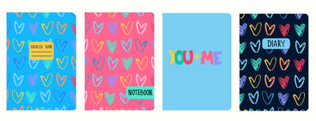 Cover page templates with hand drawn heart shapes, felt-tip pen effect. You Plus Me lettering. Based on seamless patterns. Headers isolated and replaceable. For school notebooks, notepads, diaries