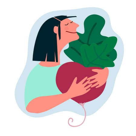 Happy woman holding giant beetroot. Humorous vector illustration in trendy flat style. Harvesting, fresh vegetables delivery, agritourism concepts